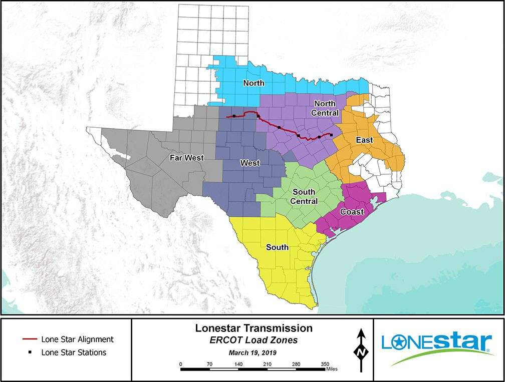 Ercot Load Zones map